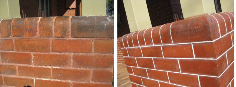 "Tuckpointing ""before and after"" Denison St Hamilton."